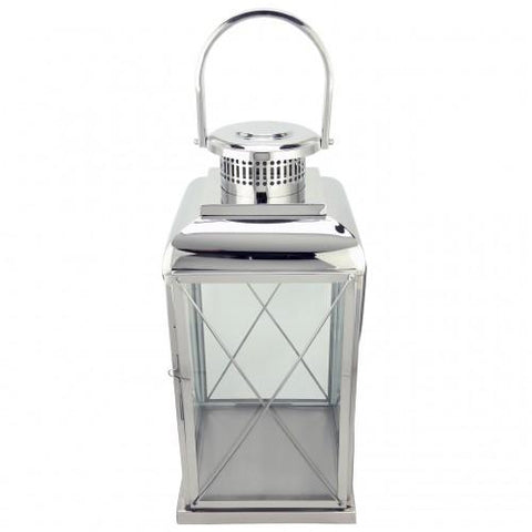 Stainless Steel And Glass Lantern With Cross Straps