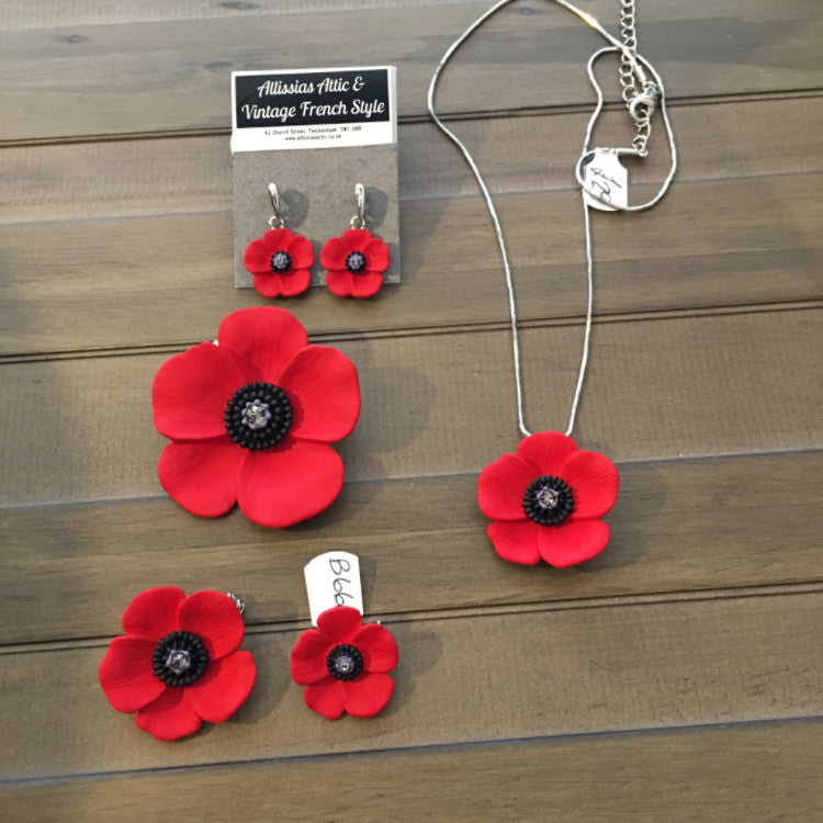 Poppy Jewellery - Necklace,  Brooch, Earrings - Allissias Attic  &  Vintage French Style - 1