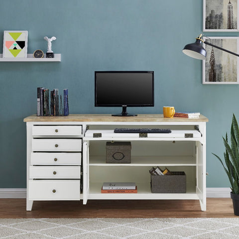 Fulton Hidden Home Office Desk - White