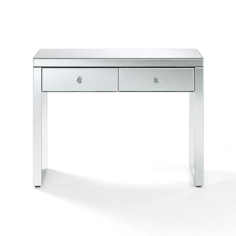 Hollywood White Glass Console Table