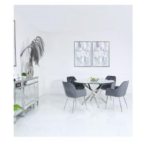130cm Nova Dining Set With 4-Grey Stella Chairs
