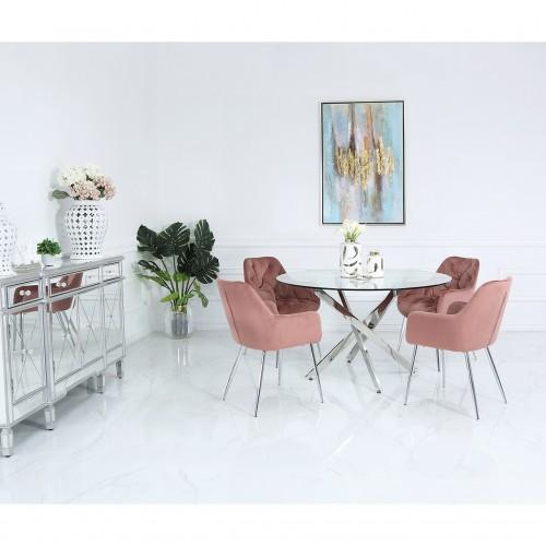 130cm Nova Dining Set With 4-Pink Stella Chairs