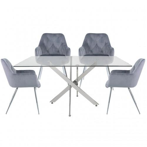 160cm Nova Dining Set With 4-Grey Stella Chairs