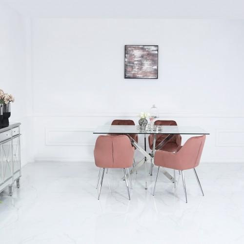 1160cm Nova Dining Set With 4-Pink Stella Chairs