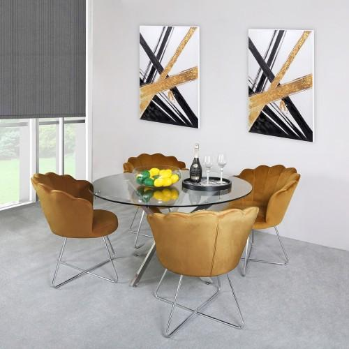 Nova 130cm Round Dining Table-Mustard