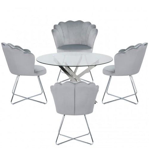 Nova 130cm Round Dining Table-Silver