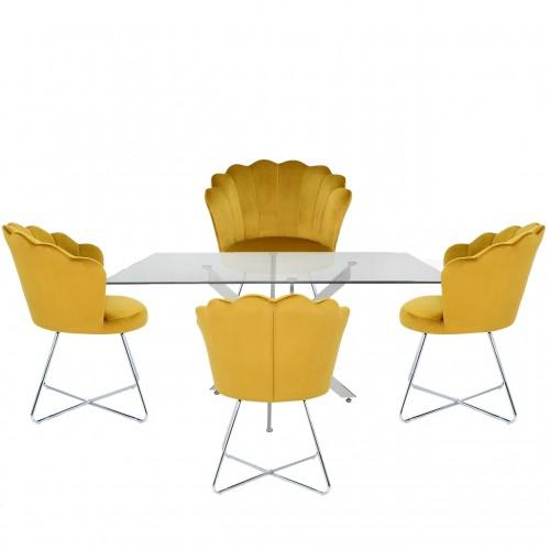 Nova 160cm Rectangular Dining Set With 4-Mustard