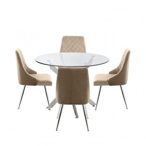 Nova 100cm Round Dining Table And 4-Champagne Tiffany Chairs