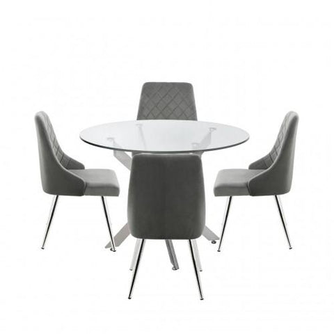 Nova 100cm Round Dining Table And 4-Grey Tiffany Chairs