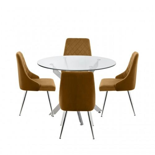 Nova 100cm Round Dining Table And 4-Mustard Tiffany Chairs