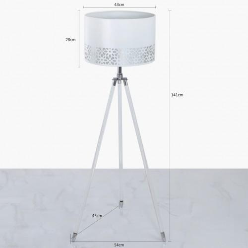 Acrylic Tripod Floor Lamp With White Shade