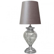 Large Chrome Glass Regal Lamp With Grey Shade