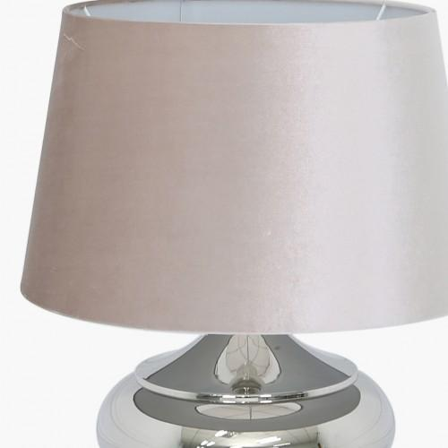 47cm Chrome Metal Table Lamp With 19inch Champagne Velvet Shade