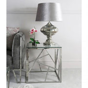 Silver Chrome Metal Table Lamp With Grey Shade