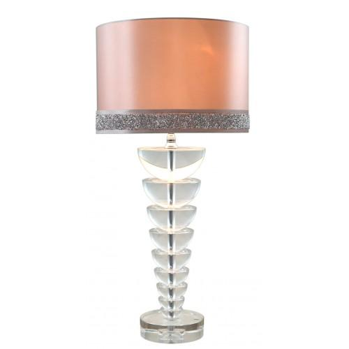 Medium Illuminated Crystal Spine Shape Lamp With Milano Shade