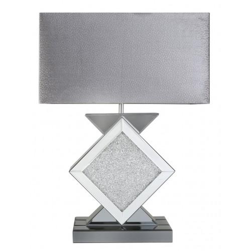 Milano Smoked Mirror Diamond Shape Table Lamp