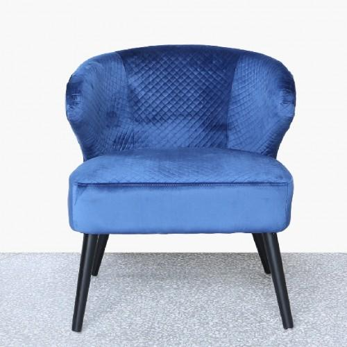 Blue Wingback Quilted Velvet Easy Chair