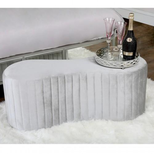 Rosa Silver Tufted Bench