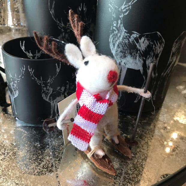 Wool Mice with Stripy Jumper Decoration