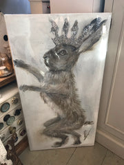 Hares with Crown - Original Canvas Artwork