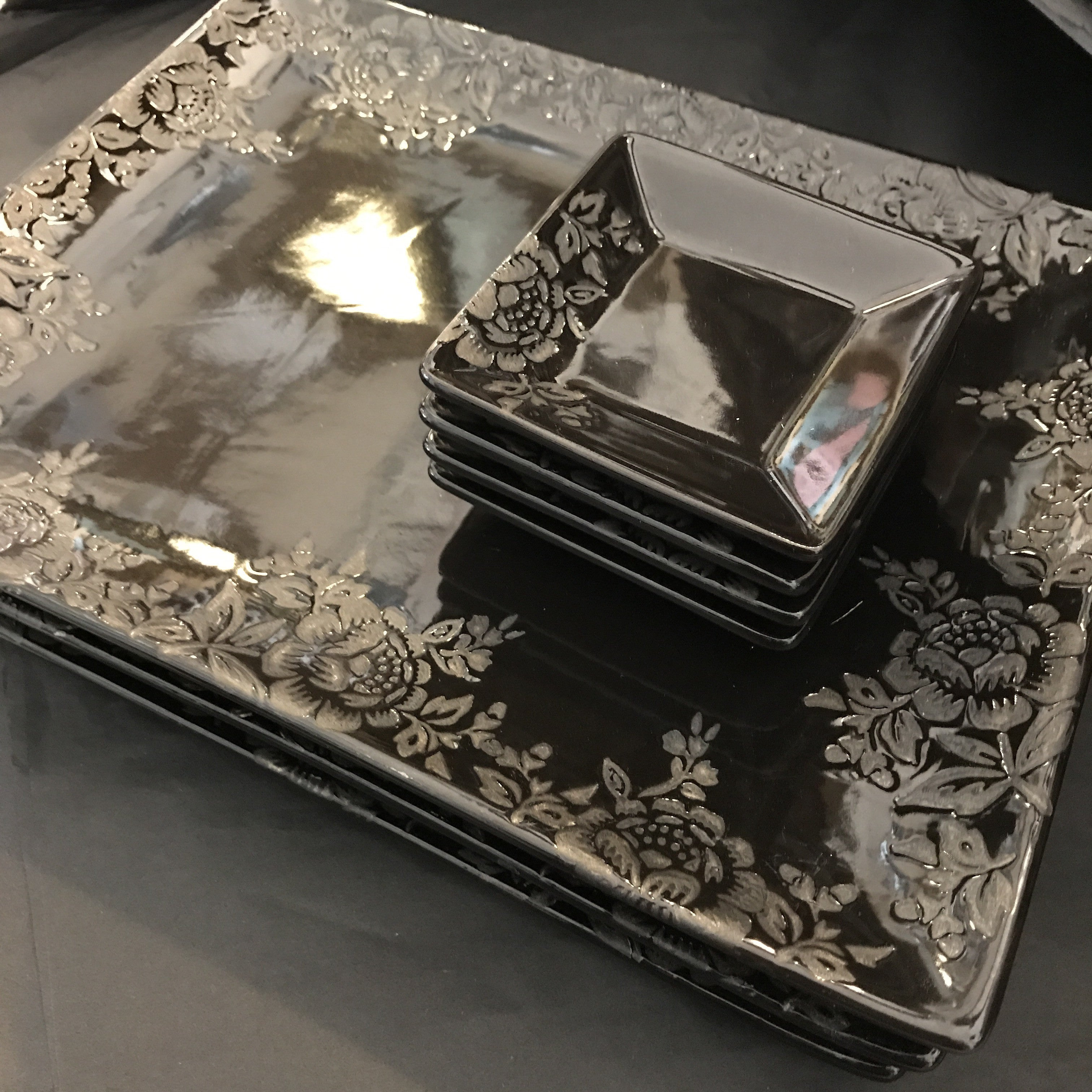 Black Ceramic Floral Etched Plates