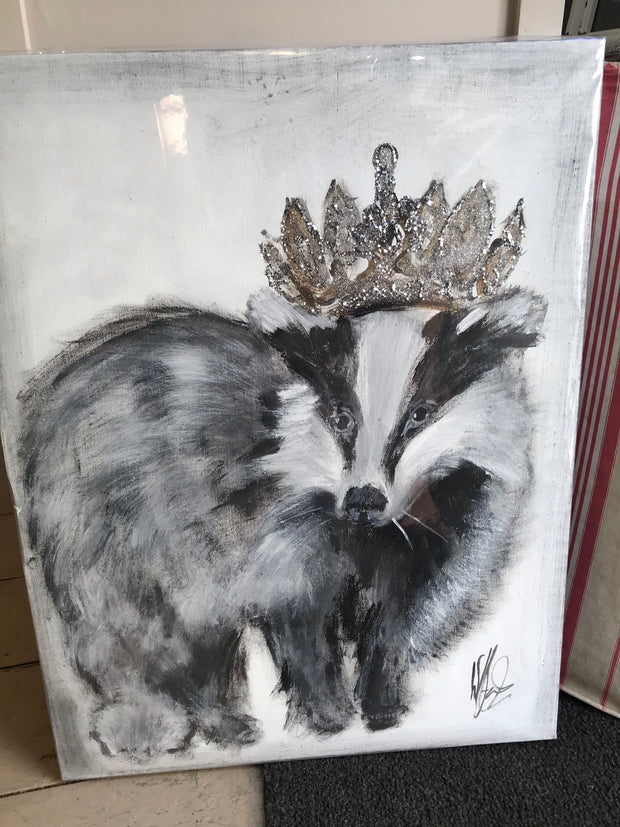 Badger with Crown - Original Canvas Artwork