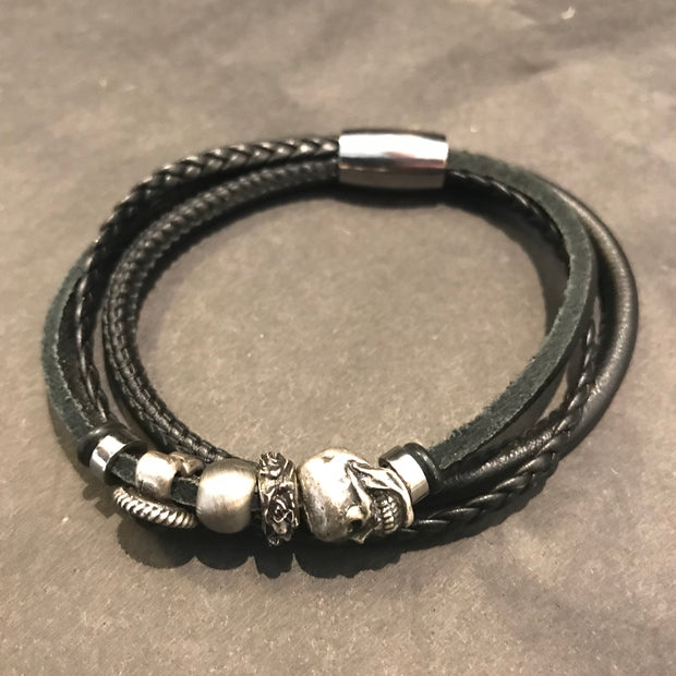Leather Bracelet with Charms in Many Colours