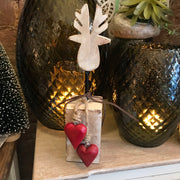 Timber Reindeer with Heart Standing Decoration