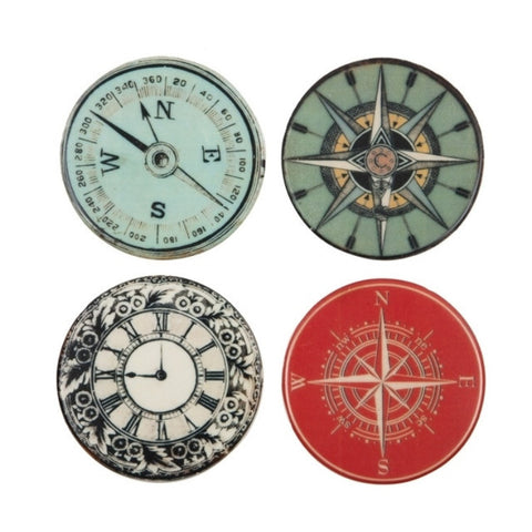 Compass Coasters Set of 4 - Allissias Attic  &  Vintage French Style