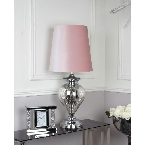 Large Chrome Glass Regal Lamp With Pink Shade