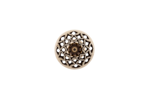 Bone Fretwork Knob Diamond - Allissias Attic  &  Vintage French Style - 2