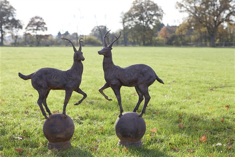 Pair of Deer on Ball Garden Ornaments - Allissias Attic  &  Vintage French Style - 2