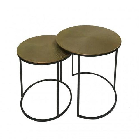 Suhani (Set Of 2) Black And Gold Nesting Tables