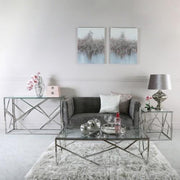 Azaria Stainless Steel Metal End Table
