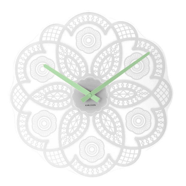 Beautiful Lace  Glass Wall Clock - Allissias Attic  &  Vintage French Style