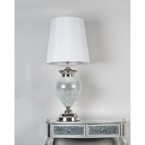 Silver Mosaic Regal Lamp With Pure White Shade
