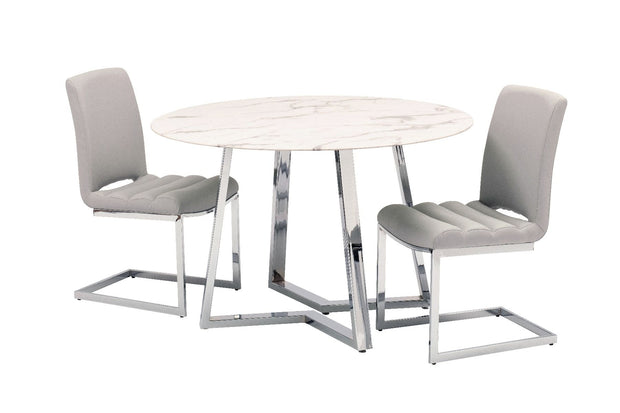 Storm Dining Table + 4 Chairs Grey