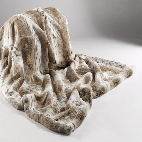 Katrina Hampton Faux Fur Throw - Tan Lynx
