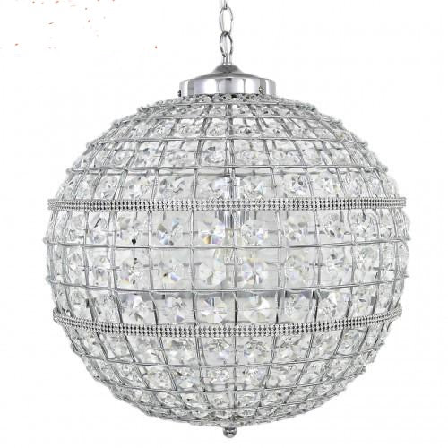 Round Crystal Effect & Silver Chandelier - Small