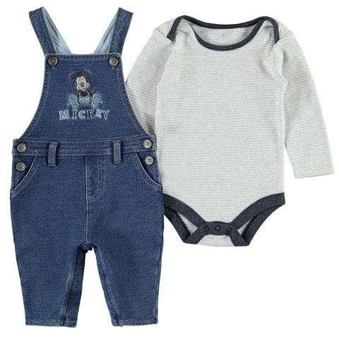 Disney Baby Mickey Mouse Bodysuit & Dungarees Outfit Set