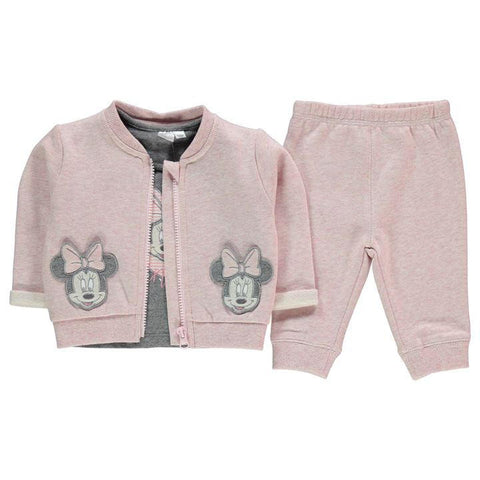 Disney Baby Minnie Mouse Baseball Jacket, Top & Joggers Set