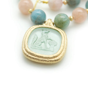 Reprotique Glass Green Fox Intaglio Drop