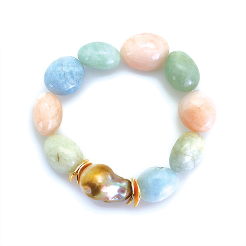 Natural Multi-color gemstone beads with Baroque pearl