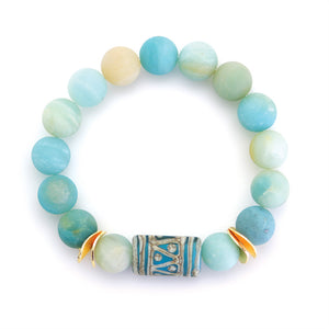 Matte Blue Agate Beads with Aztec Enhancer