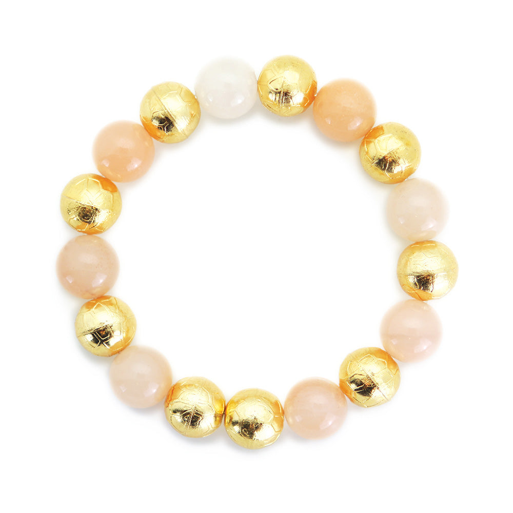 Carved Gold Bead with Honey Calzite & Baroque Pearl Bracelet