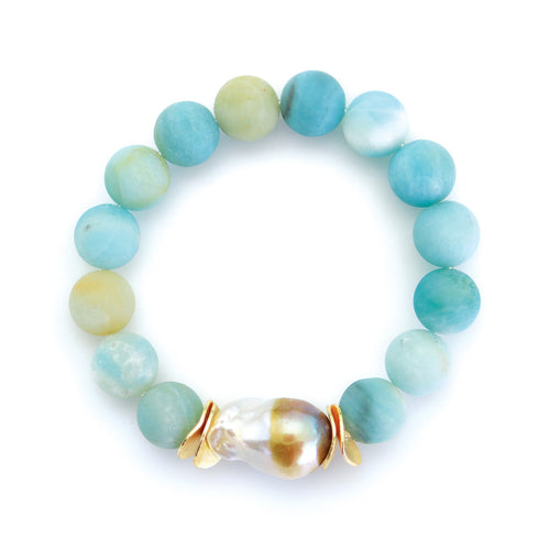 Matte Blue Agate Beads with Baroque Pearl