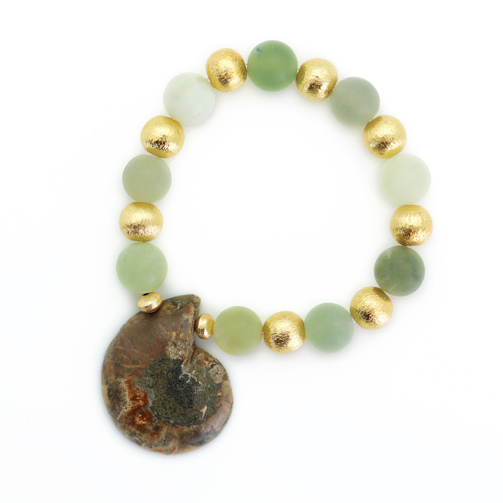 10mm Jade Matte Crystal Bead Bracelet with Fossil Shell Enhancer