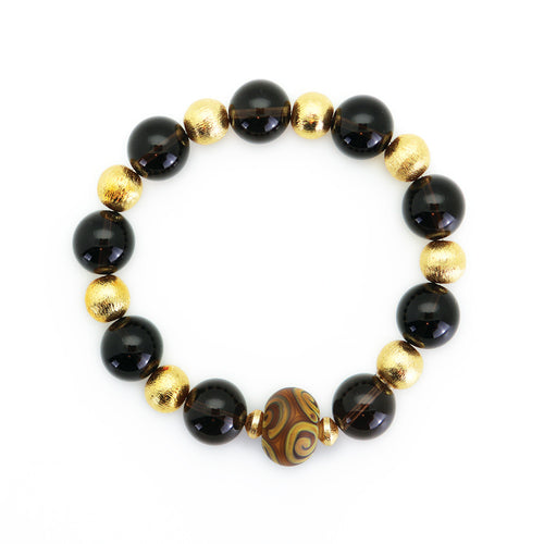 Smoke Bead Bracelet with Aztec Design Enhancer