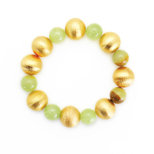 Gold Brushed Ball & Green Jade Bead Bracelet