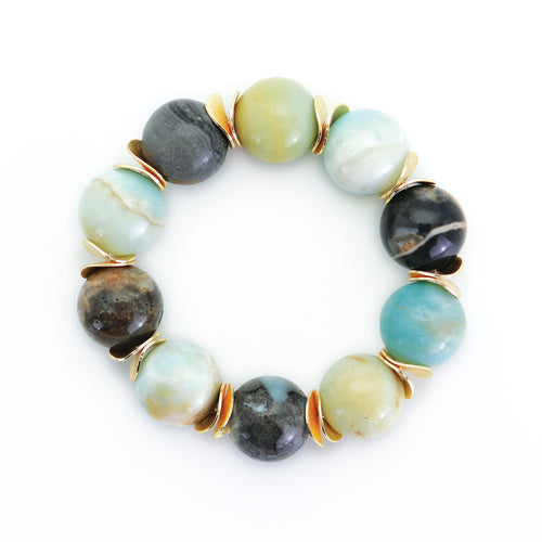 Multi-color Amazonite Bead Bracelet